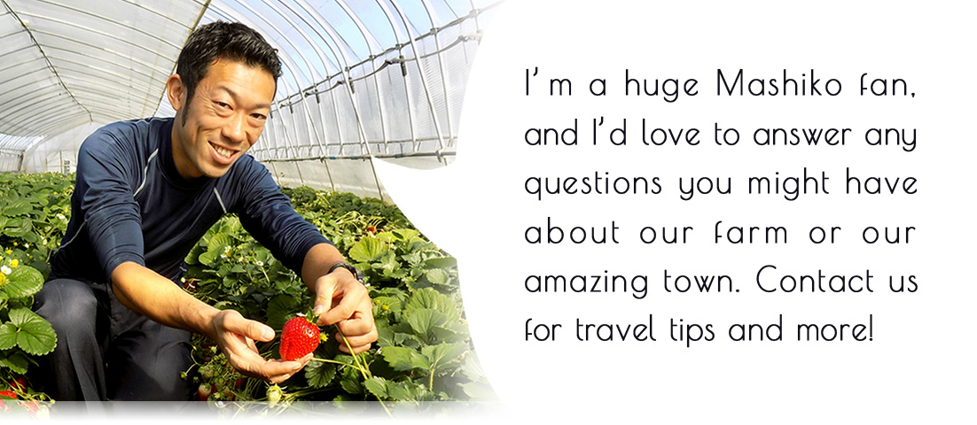 I'm a huge Mashiko fan, and I'd love to answer any questions you might have about our farm or our amazing town. Contact us for travel tips and more!